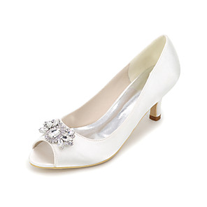 cheap Wedding Shoes-Women's Heels Glitter Crystal Sequined Jeweled Plus Size Stiletto Heel Peep Toe Wedding Casual Party & Evening Rhinestone Silk Summer White / Purple / Red