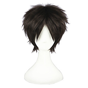 cheap Anime Cosplay Wigs-Attack on Titan Eren Jager Cosplay Wigs Men's Women's 12 inch Heat Resistant Fiber Anime Wig