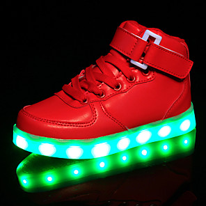 cheap Kids' LED Shoes-Girls' Sneakers LED / Comfort / LED Shoes Synthetics Little Kids(4-7ys) / Big Kids(7years +) Hook & Loop / LED / Luminous White / Black / Red Spring / Rubber