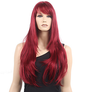 cheap Synthetic Trendy Wigs-Synthetic Wig Wavy Wavy With Bangs Monofilament L Part Wig Long Dark Wine Synthetic Hair Women's Heat Resistant Red