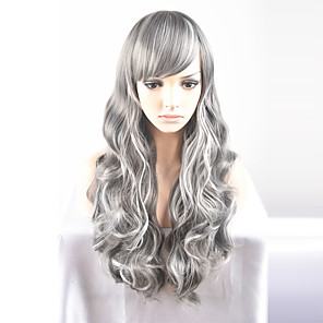 cheap Synthetic Trendy Wigs-Synthetic Wig Natural Wave Natural Wave Wig Long Very Long Grey Synthetic Hair Women's Gray