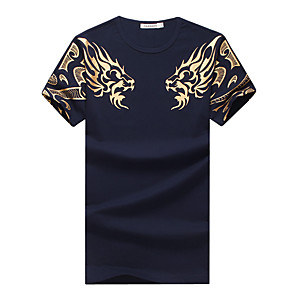 cheap Men's Oxfords-Men's Plus Size Graphic Tiger Print T-shirt Basic Daily Sports Weekend Round Neck White / Black / Navy Blue / Summer / Short Sleeve