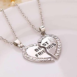 cheap RC Cars-Women's Couple's Pendant Necklace Y Necklace Broken Heart Heart Flower Love life Tree Best Friends Ladies European Fashion Sister Rhinestone Silver Plated Gold Plated Gold Silver 50cm Necklace Jewelry