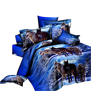 cheap Contemporary Duvet Covers-Duvet Cover Sets 3D Polyester Reactive Print 4 PieceBedding Sets / 4pcs (1 Duvet Cover, 1 Flat Sheet, 2 Shams)