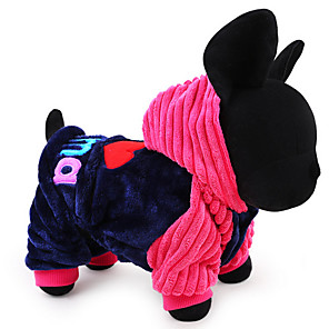 cheap Dog Clothes-Dog Hoodie Dog Clothes Letter & Number Blue Pink Cotton Costume For Spring &  Fall Winter Men's Women's Casual / Daily Keep Warm