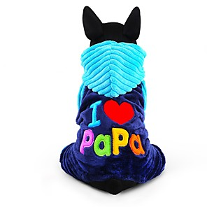 cheap Dog Clothes-Dog Jumpsuit Winter Dog Clothes Blue Rose Costume Corduroy Letter & Number Keep Warm Fashion XXS XS S M L