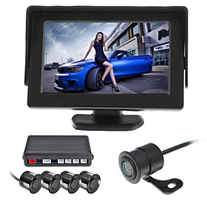 cheap Car Rear View Camera-RenEPai® 4.3 Inch 4 probe Parking Sensors LCD Display Camera Video Car Reverse Backup Radar System Kit Buzzer Alarm 12V