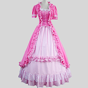 cheap Historical & Vintage Costumes-Victorian Medieval 18th Century Dress Party Costume Masquerade Women's Cotton Costume Vintage Cosplay Short Sleeve Ankle Length