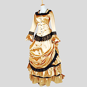 cheap Historical & Vintage Costumes-Duchess Victorian 1910s Edwardian Dress Women's Lace Costume Vintage Cosplay Party Prom Long Sleeve Ankle Length Asymmetrical Ball Gown Plus Size Customized