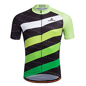 cheap Cycling Jerseys-Miloto Men's Short Sleeve Cycling Jersey Bike Shirt Sweatshirt Jersey Mountain Bike MTB Road Bike Cycling Breathable Quick Dry Reflective Strips Sports 100% Polyester Clothing Apparel / Stretchy