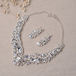 cheap Jewelry Sets-Women's Jewelry Set Bridal Jewelry Sets Party Earrings Jewelry Silver For Wedding Party / Necklace