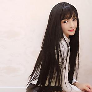 cheap Synthetic Trendy Wigs-Cosplay Wigs Women's 30 inch Heat Resistant Fiber Black Black Anime