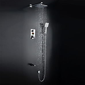 cheap Shower Faucets-Shower Faucet - Contemporary / Art Deco / Retro / Modern Chrome Wall Mounted Ceramic Valve / Brass / Single Handle Four Holes Bath Shower Mixer Taps