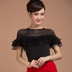 cheap Ballroom Dancewear-Ballroom Dance Top Splicing Women's Training Short Sleeves Natural Viscose