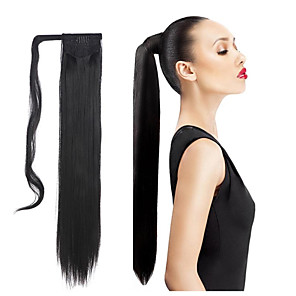 cheap Synthetic Extensions-synthetic hair long ponytail wowen straight clip in ponytail ribbon ponytail hair extension hairpiece fake hair pieces
