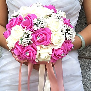 "cheap Wedding Flowers-Wedding Flowers Bouquets / Unique Wedding Décor Special Occasion / Party / Evening Bead / Rhinestone / Foam 19.7""(Approx.50cm)"