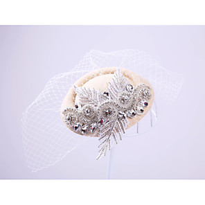 cheap Fascinators-Lace Rhinestone Net Fascinators Headpiece Classical Feminine Style
