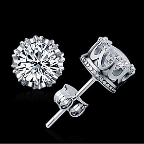 cheap Earrings-Women's AAA Cubic Zirconia Stud Earrings Zircon Earrings Jewelry Gold / Silver For Wedding