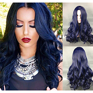 cheap Synthetic Trendy Wigs-Synthetic Wig Body Wave Body Wave Wig Blue Synthetic Hair Women's Blue