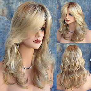 cheap Synthetic Trendy Wigs-Synthetic Wig Natural Wave Natural Wave With Bangs Wig Blonde Long Light Blonde Synthetic Hair Women's Heat Resistant Dark Roots Side Part Blonde