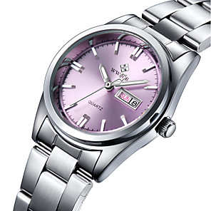 cheap Bracelet Watches-WWOOR Women's Wrist Watch Quartz Ladies Water Resistant / Waterproof Stainless Steel Silver Analog - Navy White Pink Two Years Battery Life