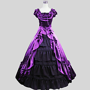 cheap Historical & Vintage Costumes-Victorian 18th Century Dress Outfits Women's Costume Purple Vintage Cosplay Party Prom Short Sleeve Ankle Length Ball Gown Plus Size Customized / Tuxedo