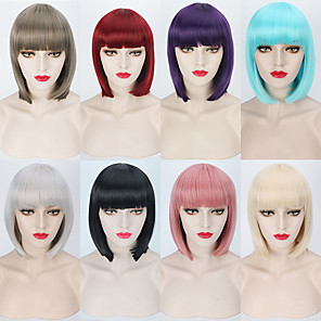 cheap Synthetic Trendy Wigs-Synthetic Wig Straight Straight Bob With Bangs Wig Blonde Pink Short Silver Blonde Grey Pink Blue Synthetic Hair Women's Red Blonde Pink