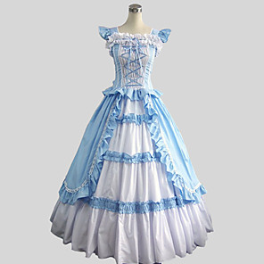 cheap Historical & Vintage Costumes-Rococo Victorian Costume Women's Dress Party Costume Masquerade Vintage Cosplay Cotton Sleeveless Ankle Length Ball Gown Plus Size Customized