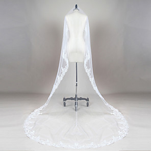 cheap Wedding Veils-One-tier Lace Applique Edge / Scalloped Edge Wedding Veil Fingertip Veils / Chapel Veils / Cathedral Veils with Appliques / Ruched Lace / Tulle / Drop Veil