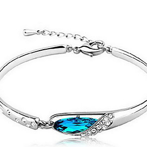 cheap Bracelets-Women's Crystal Chain Bracelet Chain Natural Sterling Silver Bracelet Jewelry Blue For Gift Valentine / Austria Crystal