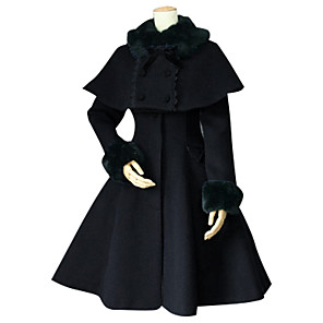 cheap Lolita Dresses-Princess Sweet Lolita Winter Cape Coat Women's Girls' Lace Cotton Japanese Cosplay Costumes Plus Size Customized Black Ball Gown Solid Colored Long Sleeve Medium Length