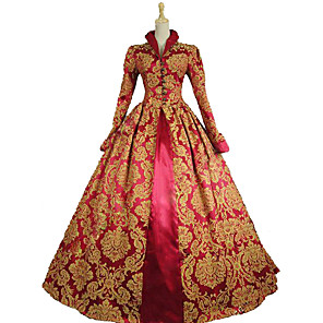 cheap Historical & Vintage Costumes-Queen Elizabeth Vintage Rococo Victorian Dress Party Costume Masquerade Ball Gown Women's Lace Satin Cotton Costume Wine / Yellow+Blue / Purple Vintage Cosplay Party Prom Long Sleeve Long Length Ball