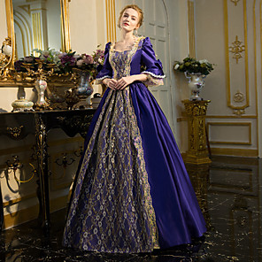 cheap Historical & Vintage Costumes-Rococo Victorian 18th Century Dress Party Costume Masquerade Ball Gown Women's Lace Cotton Costume Ink Blue Vintage Cosplay Party Prom Long Sleeve Floor Length Long Length Ball Gown Plus Size