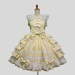 cheap Lolita Dresses-Princess Sweet Lolita Ruffle Dress Dress JSK / Jumper Skirt Women's Girls' Lace Cotton Japanese Cosplay Costumes Plus Size Customized Purple / Yellow / Blue Ball Gown Solid Colored Bowknot Sleeveless