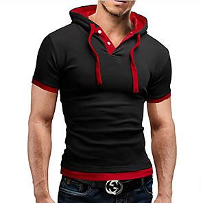 povoljno Odjeća za fitness, trčanje i jogu-Muškarci Majica s rukavima Grafika Jednobojni Tops Aktivan Kragna košulje Lila-roza Crn Crvena / Kratkih rukava / Ljeto