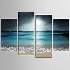 cheap Abstract Paintings-Print Rolled Canvas Prints - Landscape Fantasy Realism Modern Four Panels Art Prints