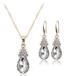 cheap Pearl Necklaces-Women's Crystal Jewelry Set Solitaire Drop Ladies European Earrings Jewelry White / Red / Blue For Wedding Party Daily
