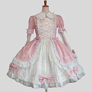 cheap Lolita Dresses-Princess Sweet Lolita Dress Women's Girls' Cotton Japanese Cosplay Costumes Plus Size Customized Blue / Pink Ball Gown Solid Colored Long Sleeve Knee Length