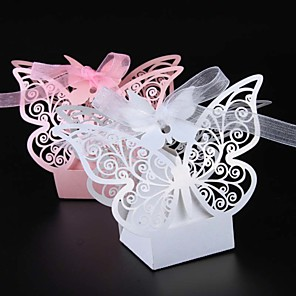 cheap Practical Favors-Pearl Paper Favor Holder with Ribbons Favor Boxes - 50