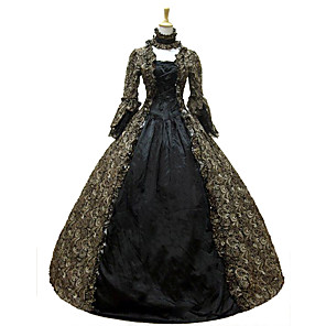 cheap Historical & Vintage Costumes-Rococo Victorian 18th Century Dress Party Costume Masquerade Women's Lace Cotton Costume Dark Green Vintage Cosplay Long Sleeve Floor Length Long Length Ball Gown / Floral