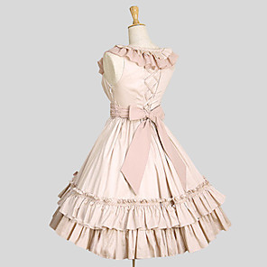 cheap Lolita Dresses-Princess Ruffle Dress Dress Women's Girls' Cotton Japanese Cosplay Costumes Plus Size Customized Blue / Pink Ball Gown Solid Colored Sleeveless Knee Length