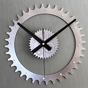 cheap Synthetic Trendy Wigs-Modern Contemporary / Retro Metal Round Novelty / Holiday / Inspirational Indoor / Outdoor AA Decoration Wall Clock Analog Emboss No