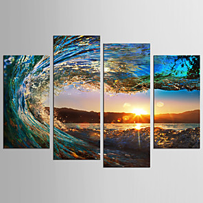 cheap Prints-Print Rolled Canvas Prints - Landscape Still Life Classic Modern Four Panels Art Prints