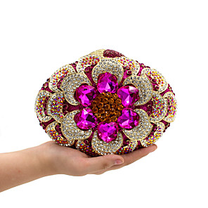 cheap Clutches & Evening Bags-Women's Crystal / Rhinestone Metal Evening Bag Floral Print Fuchsia