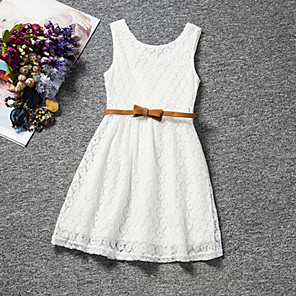 cheap Kids' Sandals-Kids Girls' Sweet Party Daily Birthday Solid Colored Lace Sleeveless Regular Regular Dress White