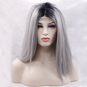 cheap Synthetic Lace Wigs-Synthetic Lace Front Wig Straight Straight Lace Front Wig Black / Grey Synthetic Hair Women's Natural Hairline Gray