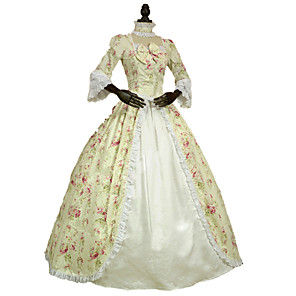 cheap Historical & Vintage Costumes-Rococo Victorian Costume Women's Dress Party Costume Masquerade Ivory Vintage Cosplay Lace Cotton Floor Length Long Length Halloween Costumes / Floral