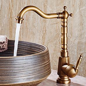 cheap Bathroom Sink Faucets-Bathroom Sink Faucet - Widespread Antique Copper Centerset Single Handle One HoleBath Taps
