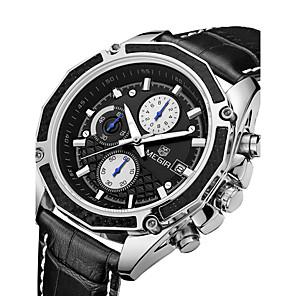 cheap Quartz Watches-MEGIR Men's Sport Watch Military Watch Dress Watch Fashion Watch Wrist watch Calendar Quartz Digital Genuine Leather BandVintage Charm