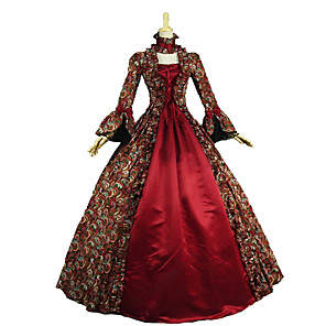 cheap Outdoor IP Network Cameras-Rococo Victorian Vintage Inspired Medieval Renaissance Dress Women's Lace Cotton Costume Red Vintage Cosplay Party Prom Long Sleeve Floor Length Long Length Plus Size Customized / Floral